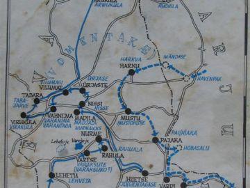Ristiusu misjonäride teekonnad nüüdse Nissi kihelkonna alale 1219-1220 (Paul Johansoni järgi)