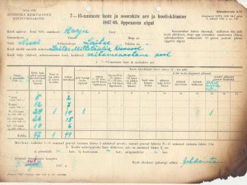 Õpilaste arv Laitse Algkoolis 1947/1948 õppeaastal. Foto: Einar Alliksaar erakogu